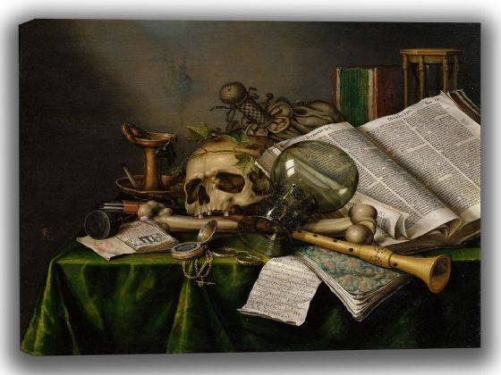 Collier, Edwaert: Vanitas - Still Life with Books, Manuscripts and a Skull. Fine Art Canvas. Sizes: A4/A3/A2/A1 (003979)